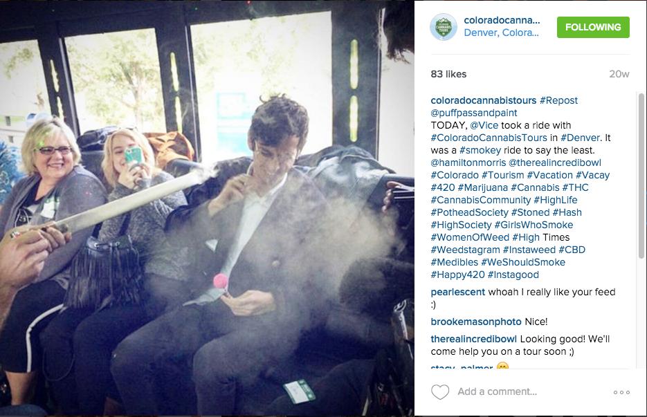 Hamilton Morris of HBO Vice smoking pot on CCT Tours