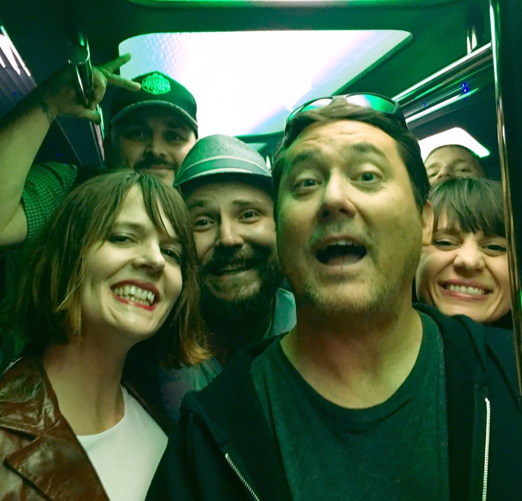 The Colorado Cannabis Tours crew with Doug! From left to right: Stacey Mulvey, Torrin Panico, Michael Eymer, Doug Benson & Heidi Keyes.